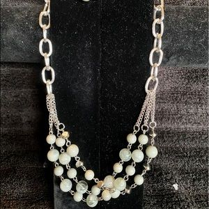 Multiple Strand Grey Beaded Necklace with Earrings
